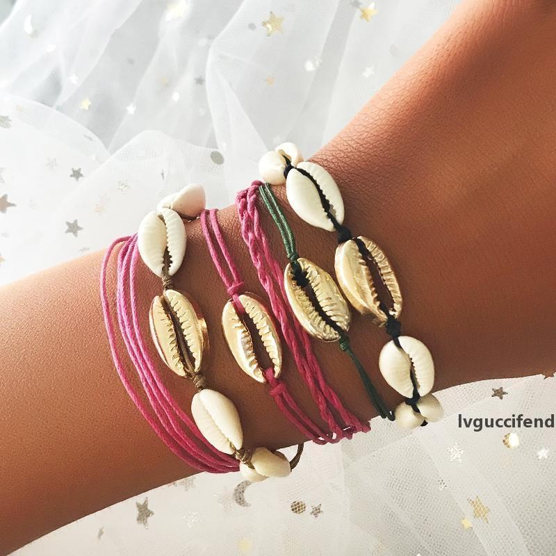 Bracciali etnici Boho Shell braccialetto per i monili di fascino del braccialetto di disegno unico di braccialetti del braccialetto di modo delle donne del partito di viaggio