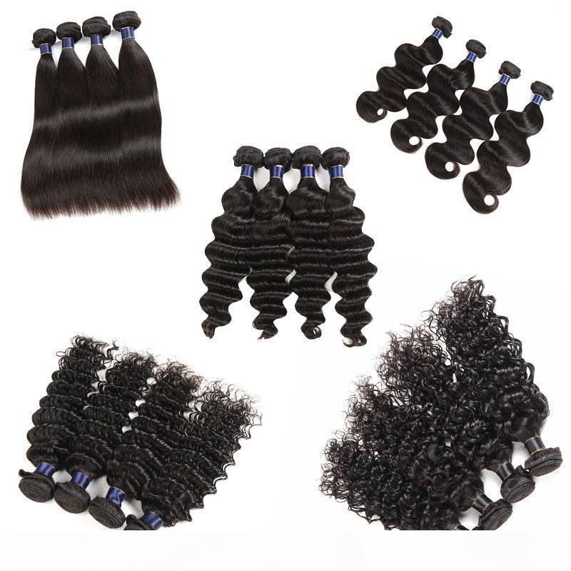 Малайзийская девственница человеческих волос прямая волна волны волны Волна свободная волна 5 6 шт. Лот необработанные бразильские реми человеческие волосы волосы