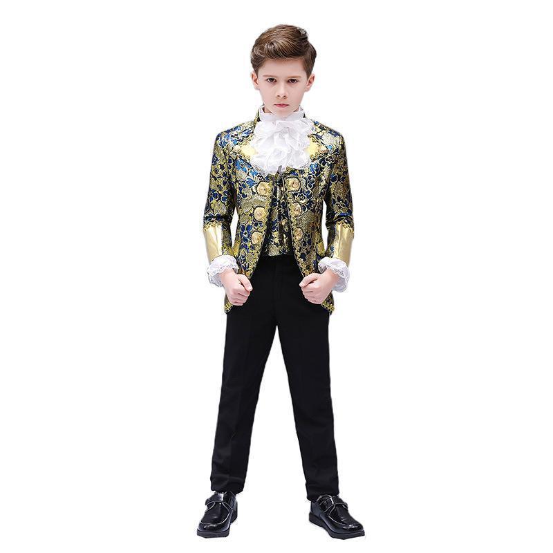 Boy Restoring Ancient Ways European Children Court Dress Acting Dress White Horse Prince European Drama Stage Performance