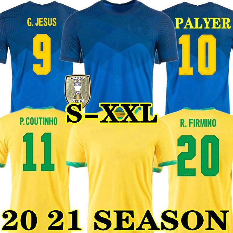 G.JESUS COUTINHO 20 21 Brasilien FIRMINO FACZER JERSEY ZU HAUS WILLIAN MARZOO PAULINHO 2020 2021 Brasil Fußball Hemd Neyma JR