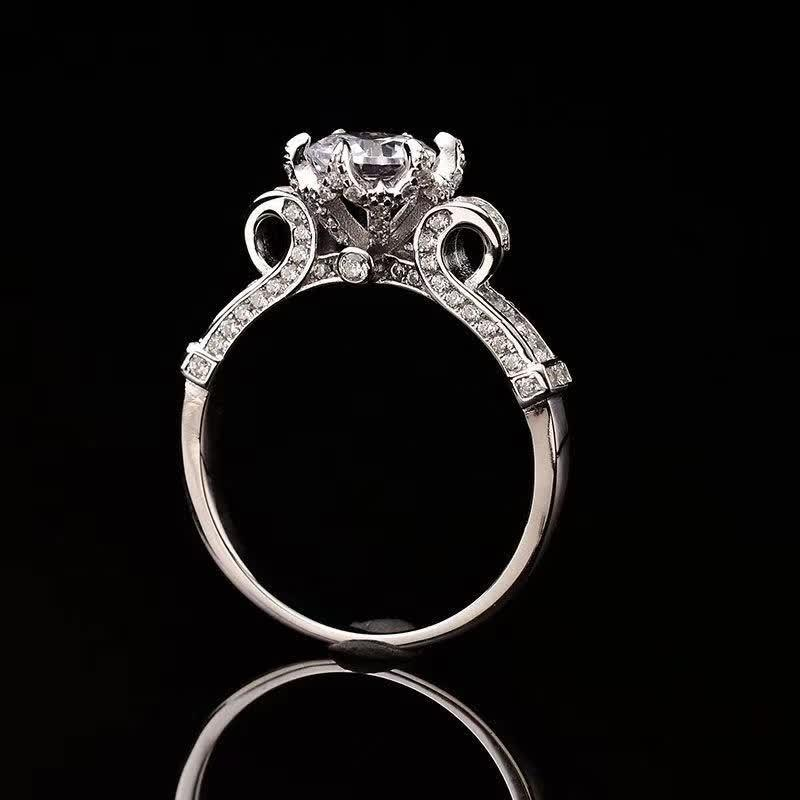 Crown S925 Sterling Silver Ring 1ct D Color Moissanite Anéis Clássico Mulheres Fine Jóias GRA Certificate Shipping J1208