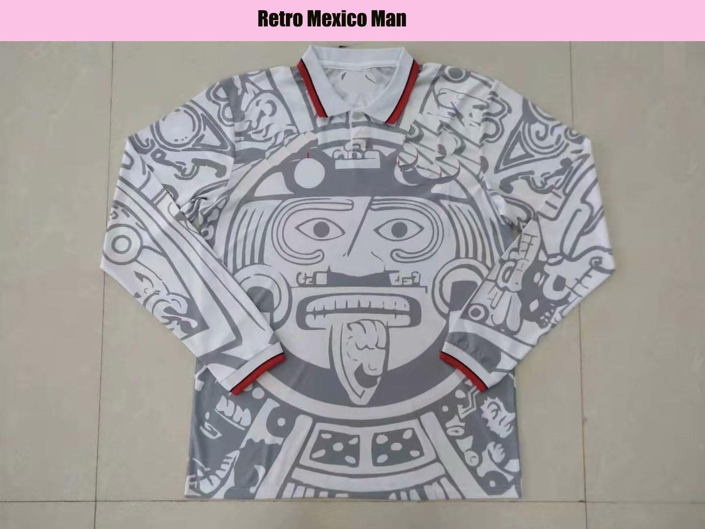 1998 Messico retrò vintage blanco manica lunga bianco calcio jersey uniformi calcio jersey camicia ricamo logo di alta qualità camiseta futbol