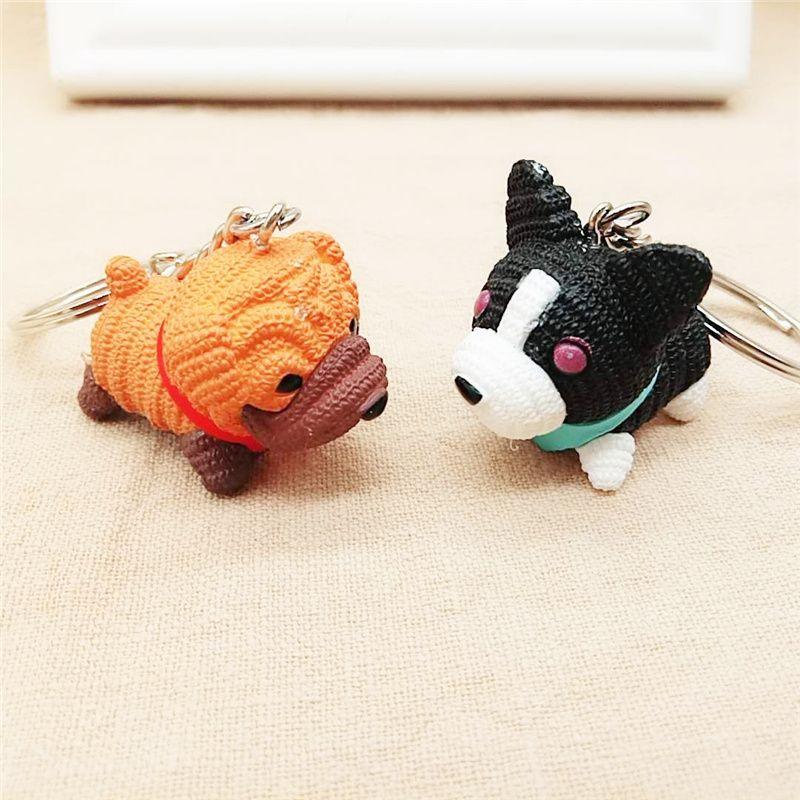 Cartoon Welpen Hund Keychain Anhänger Kreative Geschenke Pet Teddy Dog Paare PVC Schlüsselanhänger Taschen Anhänger Großhandel
