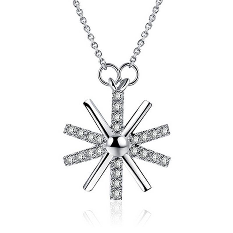 Colliers Argent Brillant Cristal Design Fleur 925 court en argent sterling chaîne Colliers femmes bijoux cadeau d'anniversaire Drop Shipping