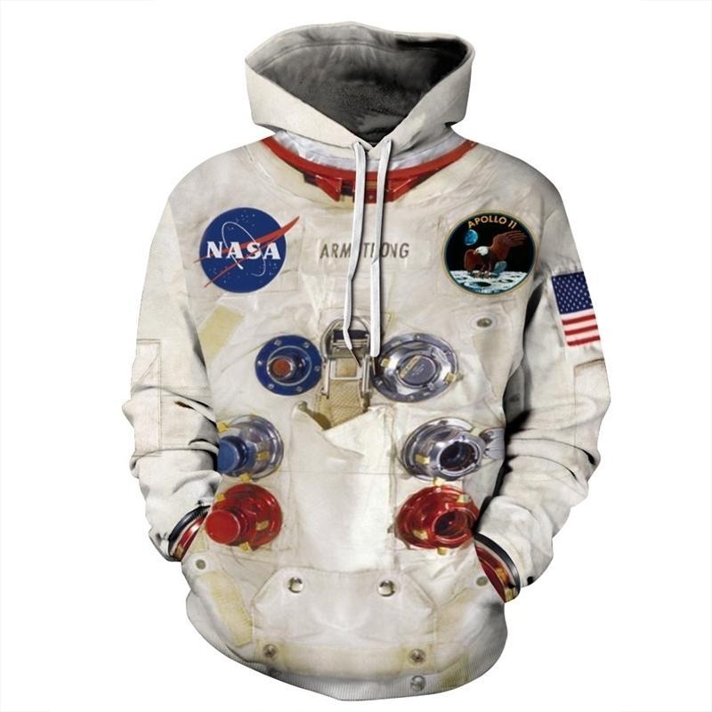 QNPQYX Frauen Mann Winter Streetwear Hoodies Tops 3D Astronaut Space Anzug Pullover Sweatshirt Terror Pocket Outwear Warme Hoodies Y201001