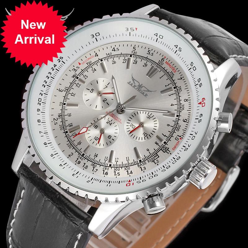 Jaragar Mechanical Grand Dial Hommes Mode Véritable Cuir Montre Montre Automatique Date Day Day Watches Humens Horloge