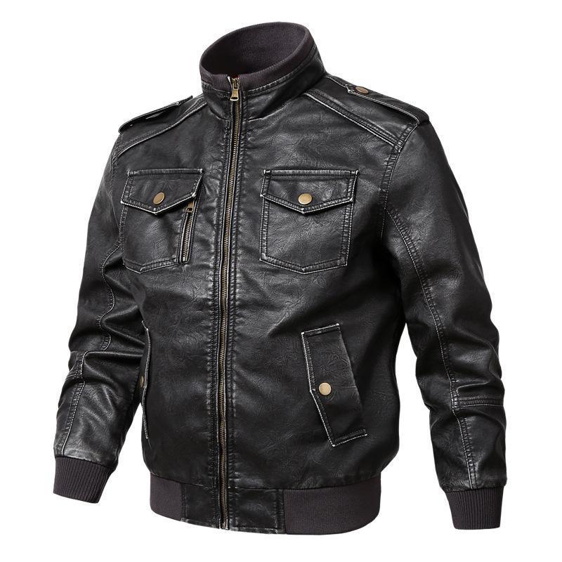 Erkek Kürk Faux Erkekler Deri Ceket 2021 İlkbahar Sonbahar PU Bombacı Ceket Rahat Çok Cep Motosiklet Giyim Erkek 5XL