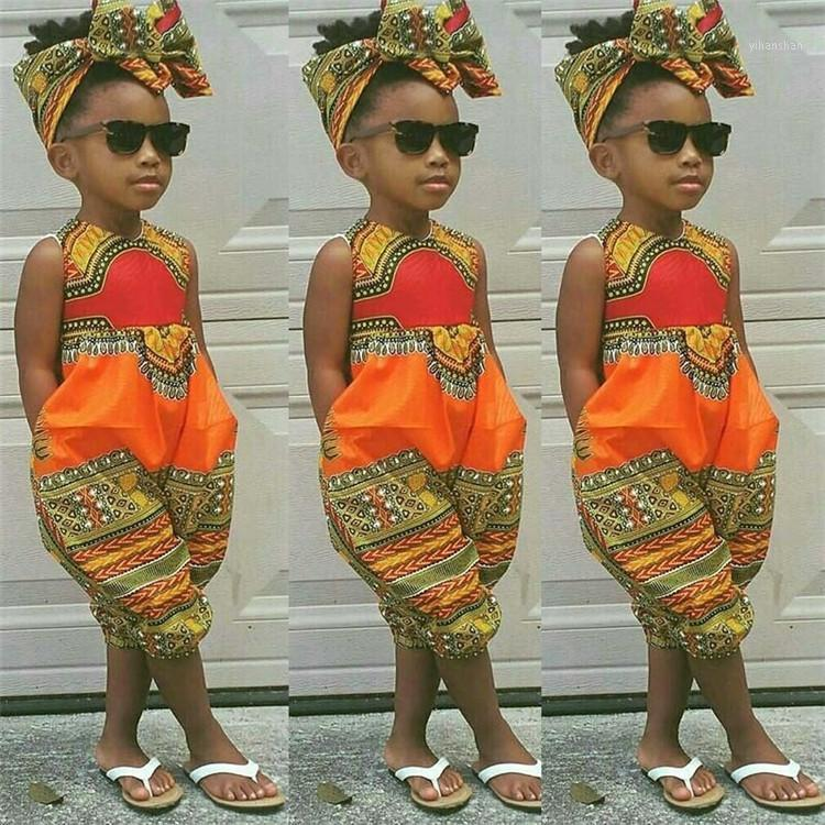 Afrikanische Kleidung-für-Kinder Dashiki Traditionelles Set Matching Africa Print Sleeveless Overall Kinder Sommer A Set1