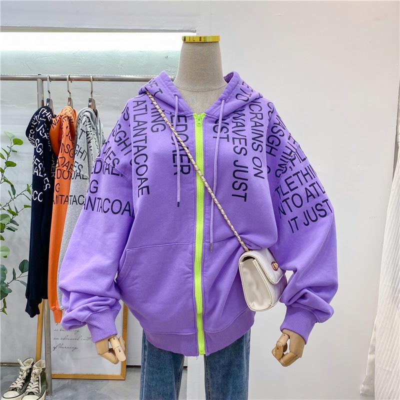 Artı Boyutu Zip Up Hoodies Kadınlar 2020 Sonbahar BF Stil Mektup Baskılı Kapüşonlu Tişörtü Kadın KPOP Boy Sokak Hoodie