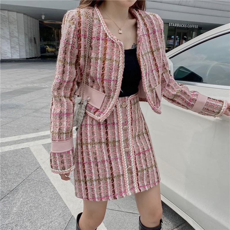 Kadın Eşofman HSTAR Yüksek Kalite Bahar Sonbahar Tüvit Pembe Kıyafetler Tam Kollu Vintage Ceket Ceket + A-Line Etek + Shrit Kore 3 Parça SE