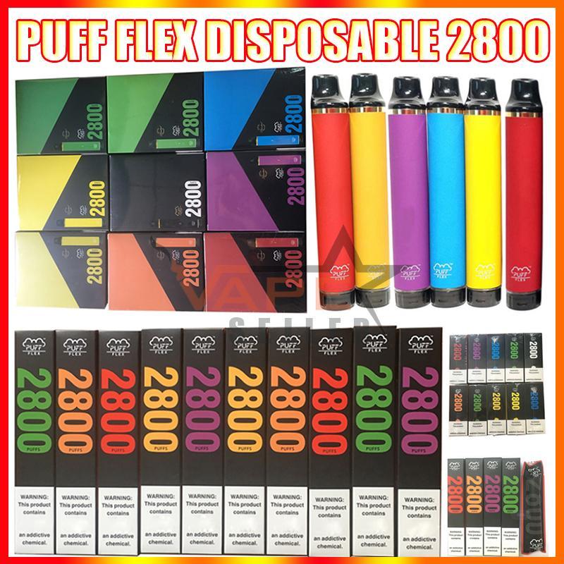 퍼프 플렉스 일회용 vape 펜 전자 담배 장치 1500mAh 배터리 10ml 포드 카트리지 2800 퍼프 퍼프 bar 키트 대 공기 막대 맥스