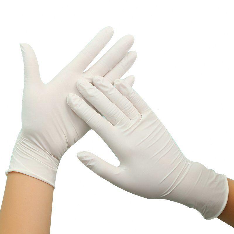 Factory91lqlaboratorio blanco antideslizante 100 unids Guantes de protección de látex desechables de goma Venta caliente Limpieza doméstica Pro