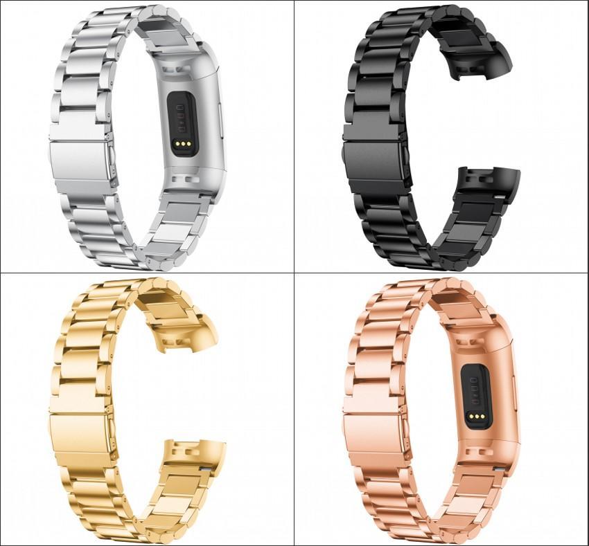 Guarda cinturino per Fitbit Carica 3 Band Strap in acciaio inox Sport Sport Sport Luxury Metal Smart Watch Band Bracciale Braccialetto
