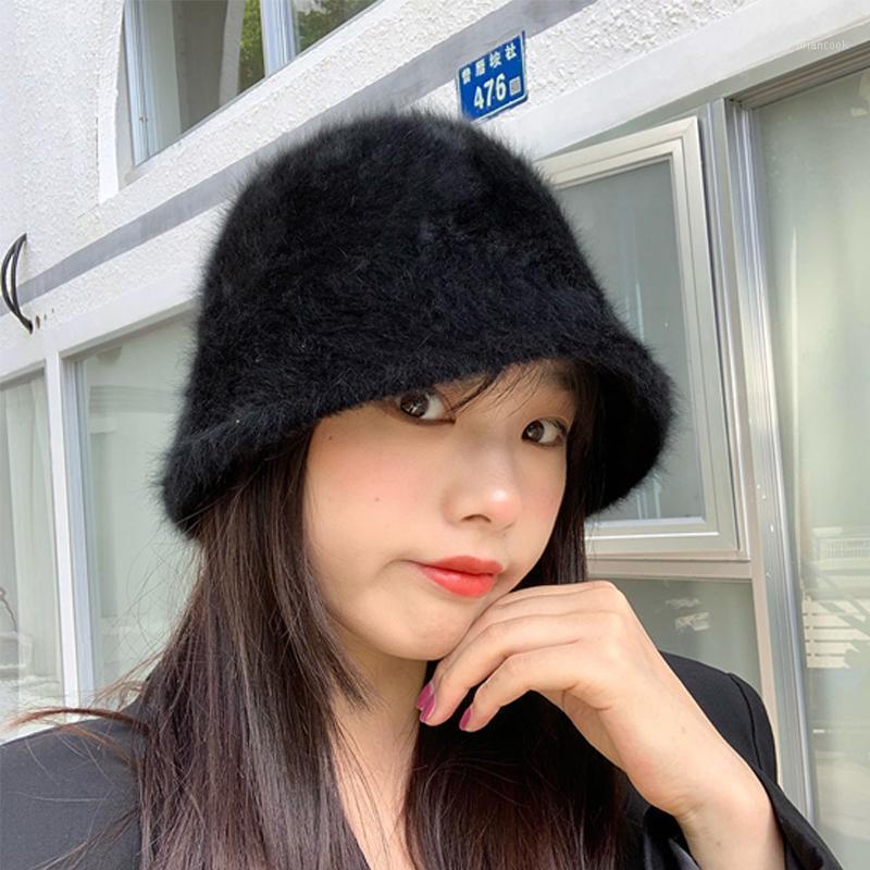 Invierno Moda para mujer Sombrero Cubo de mujer Cálido suave peluche Cap de peluche Coreano Estilo japonés Todo Match Color sólido Retro Pescador Hat1