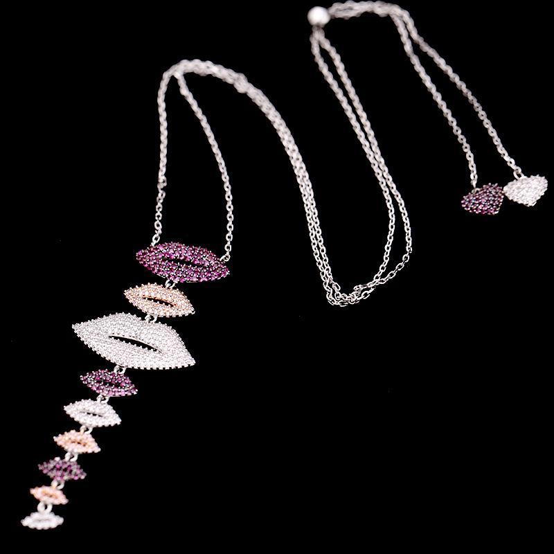 Heißer Verkauf Koreanische Mode Persönlichkeit Micro-Inlaid Zirkon Lippen Herz Halskette Schmuck Temperament Frauen Marke Luxus High-End Zirkon Halskette