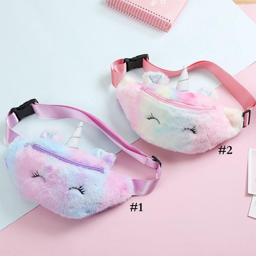 Unicorn Plush Waist Bag Cute Cartoon Kids Fanny Pack Girls Belt Bag Fashion Travel Phone Pouch Chest Bag Storage Bags NWC4137