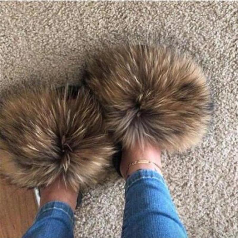 Women Winter Fluffy Raccoon Fur Slides Women Real Fox Fur Slides Home Furry Flat Sandals Female Cute Fluffy House Women Slippers Y200706
