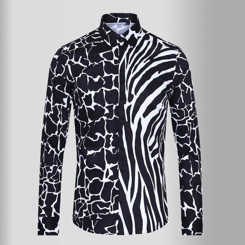 2020 Black White Printed Herrenhemden Luxus Langarm Casual Herren Kleid Hemden Hohe Qualität Slim Fit Einfache Männchen 3XL