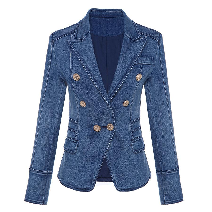 2020 Herbst- und Winter-Außenhandel-Mode-Mantel doppelreizende Schnalle-Lion-Schnalle-Waschen-Denim-Anzug Selbstanschluss kleiner Mantel Z1211