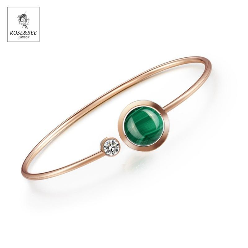 Grüne Malachitstein Lady Armband Rose Gold Edelstahl Armband Armband Schmuck Gemischte Batch F1130