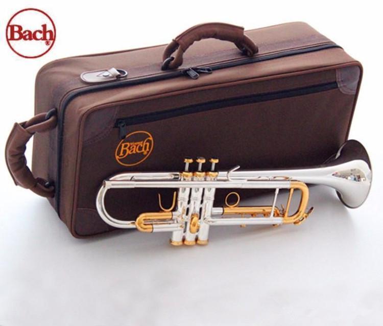 Qualità BACH TRUMBET argento placcato oro originale Gold Key LT180S-72 Piatto BB Professionale Tromba Tromba Bell Top Strumenti musicali Ottone