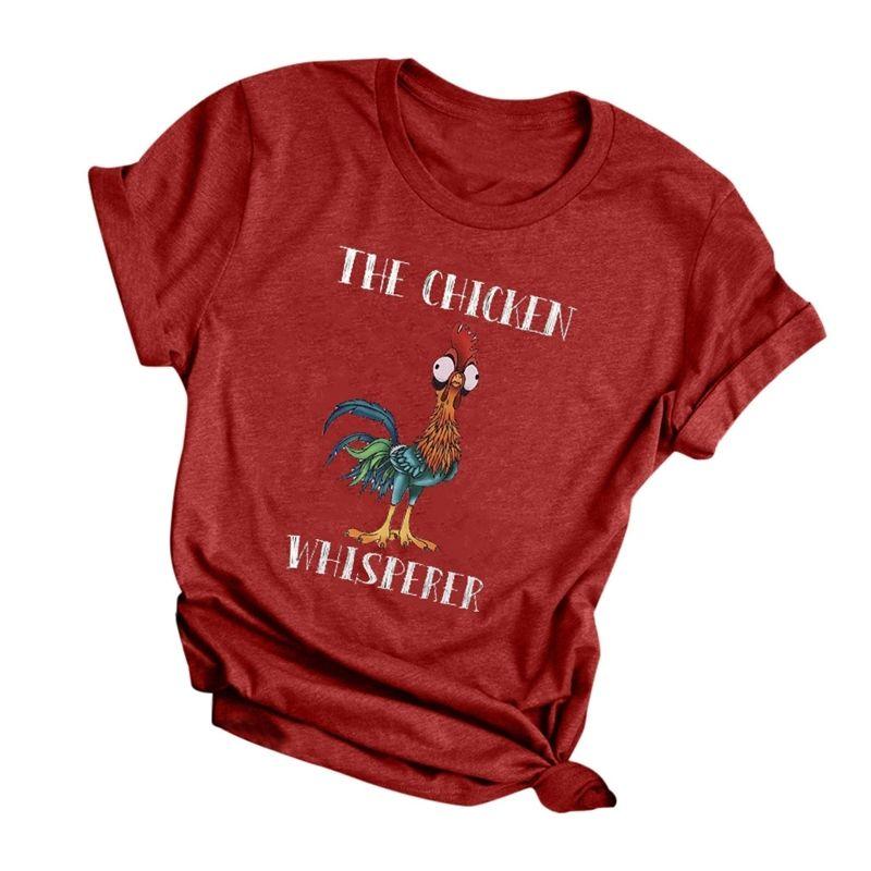 Harajuku verano camiseta top divertido el pollo whisperer impreso camiseta casual manga corta o-cuello tops camisetas femeninas