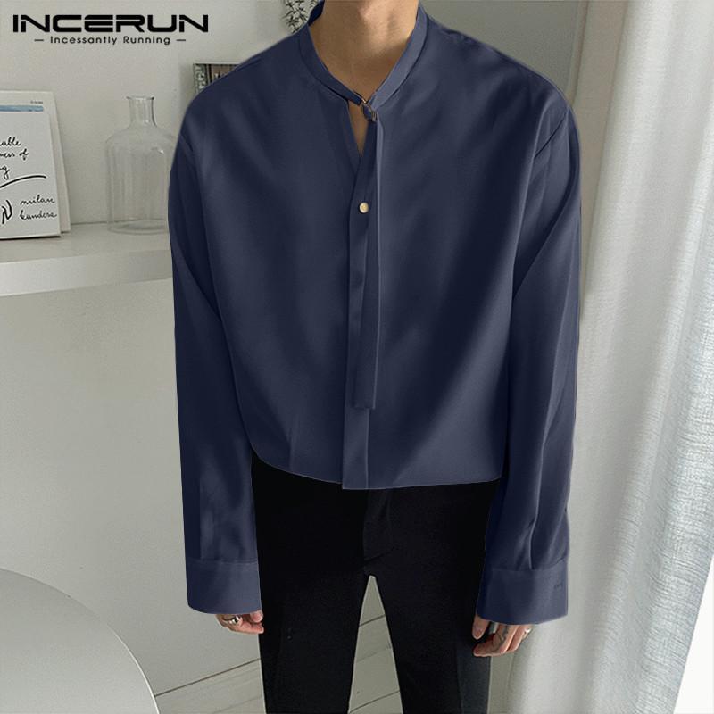Homme Chemise Couleur Solide Streetwear Longue Manches Beaux Tops Camisa Coréen Style Loose Dacette Fashion Casual Chemises incerun S-5XL