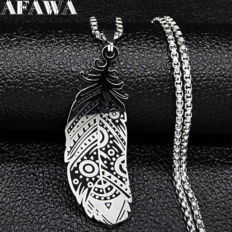 2020 Fashion Feather Steel Steel Declaración Collar para Mujeres Color Plata Collares Colgantes Joyerly Gargantilla N3200S02