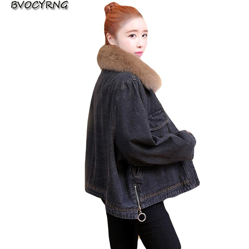 Novo europeu high-end solto tamanho grande denim jaqueta jaqueta de inverno mulheres curtas mais grosso mais veludo casaco de cordeiro feminino