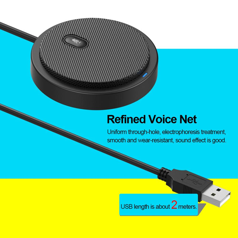 USB Omni-directional Condenser Microphone Mic for Meeting Business Conference Voice Chat Video Live Broadcast Sound Pick-up