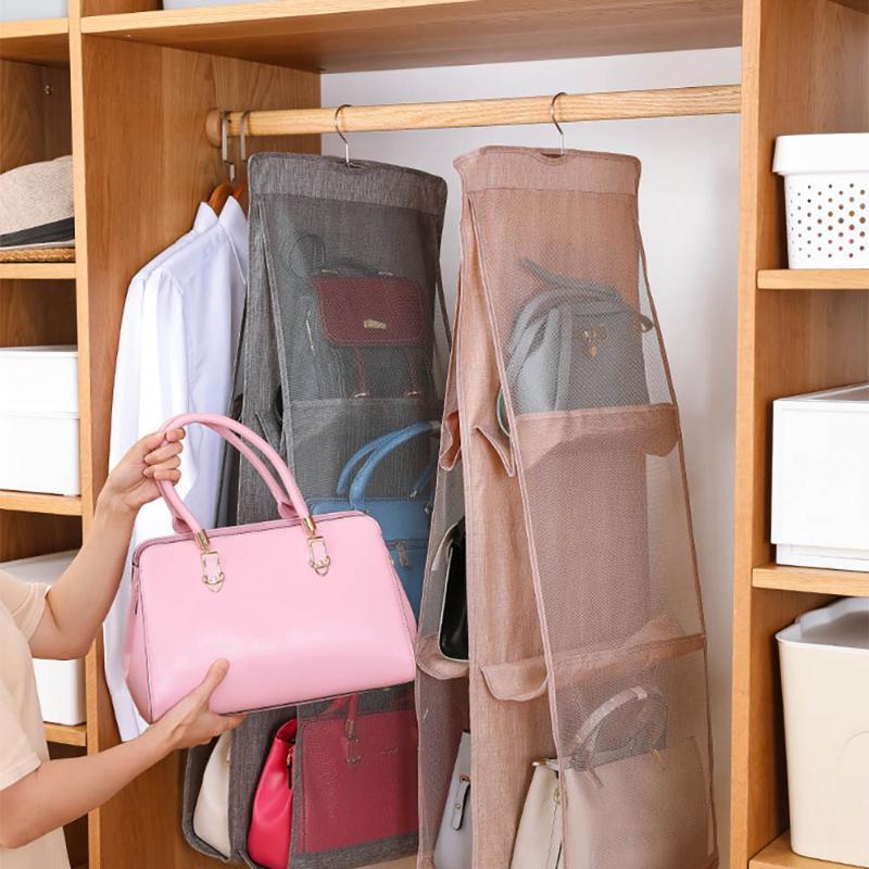 6 Pocket Виситная сумка Организатор для гардероба для шкафа Прозрачная сумка для хранения Дверная стена Очистить сумку для обуви