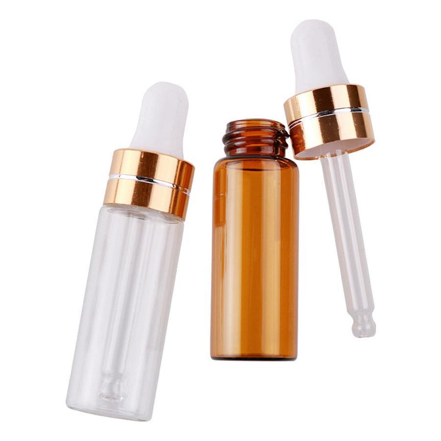 3ml 5ml transparente vidro marrom plástico garrafa de vidro portátil óleo essencial de óleo de amostra de perfume envergonhar garrafa de embalagem rrd3004