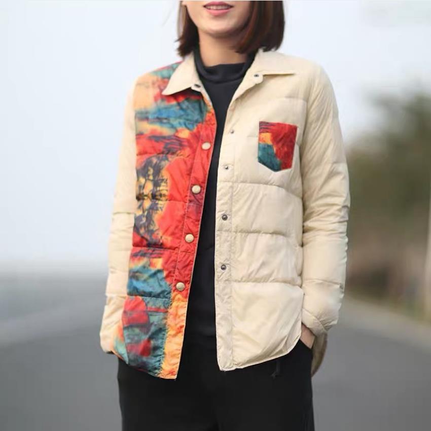 Automne rétro-blanc canard féminin style de lumière imprimé manteaux moelleux veste moelleux