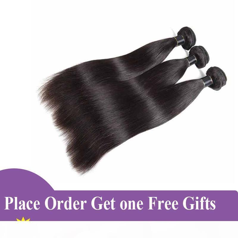 Paquetes de tejido de pelo humano brasileño recto natural negro 100% malayo panel humano paquetes remy brasileño recto vello virgen trama DHL