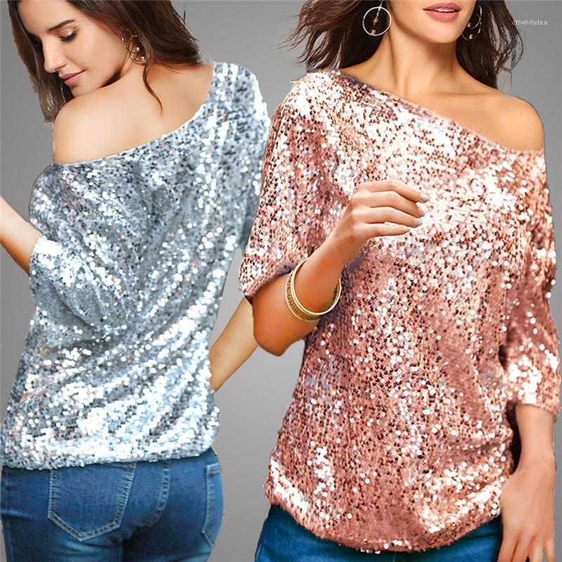 Designer Tshirts Fashion Loose Inclined Shoulder Half Sleeve Womens Tees Casual Females Clothing Sequins Panelled Womens