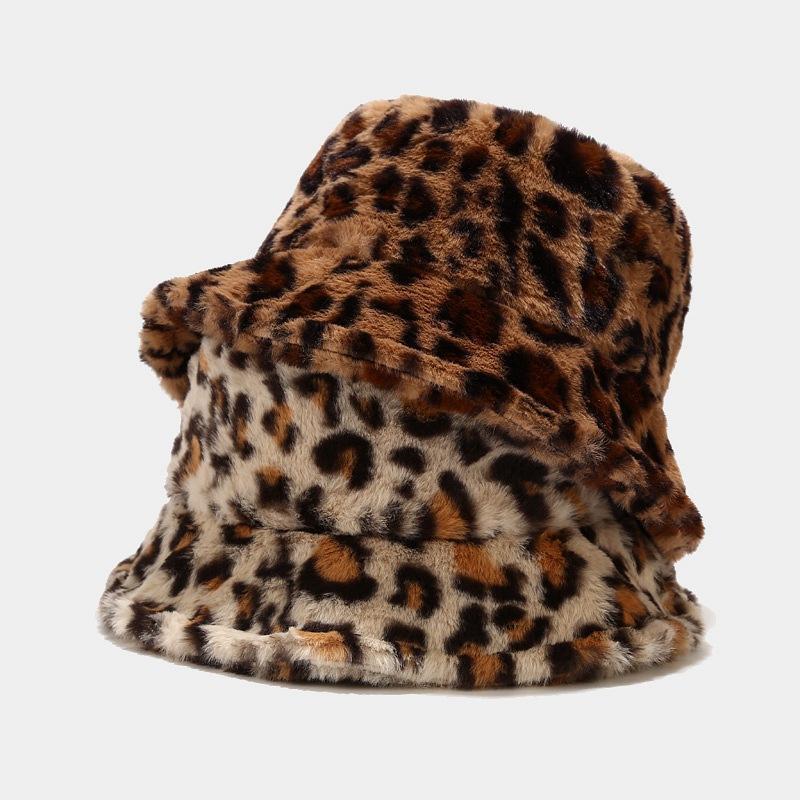 Geniş Ağız Şapkalar Tüm Eşleşen Leopar Artı Kadife Faux Kürk Kalınlaşmak Balıkçı Caps Kadınlar için Açık Sonbahar Kış Sıcak Yumuşak Rüzgar Geçirmez