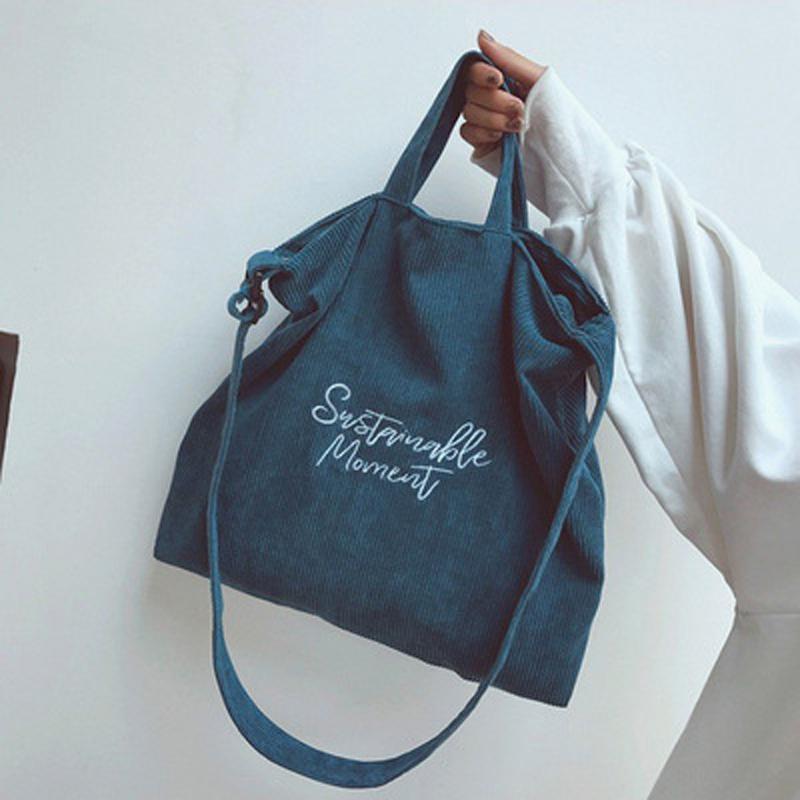 Shopping Bags Donne Corduroy Canvas Tote Ladies Casual Snow Shopper Borsa Eco Borsa pieghevole Pieghevole riutilizzabile Beach Female Borsa in cotone