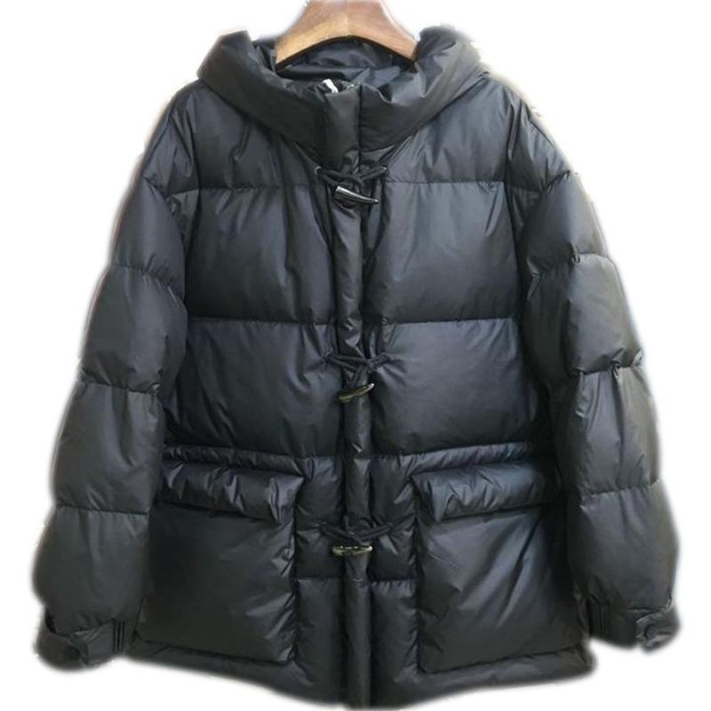 Outono e inverno novo pato branco para baixo moda selvagem solta grosso com capuz emagrecimento moda chifre fivela para baixo jaqueta tendência feminina