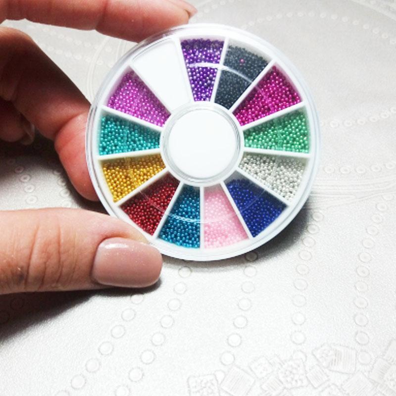 جديد 1 مربع 12 ألوان عجلة مسمار الفن أدوات ماجيك الحلوى اللون تصميم الكافيار الخرز مانيكير microbeads ديكورات