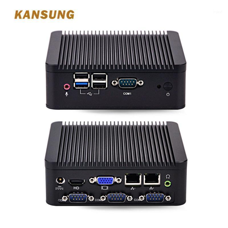 Mini PCs 2 Ethernet LAN Fanless Industrial Computador Dual Core Pessoal J1800 Barebone System 12V PC Win 10 x861
