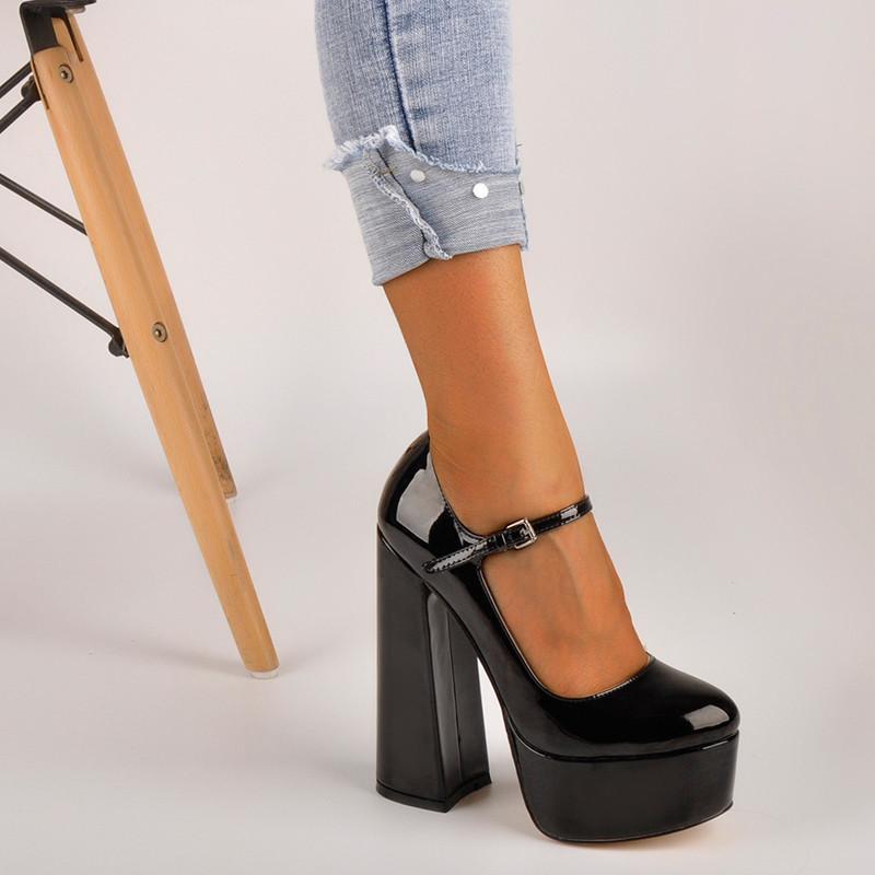 Andermaker Womens Mary-Jane Platform Chunky 15 ~ 16 см Высокие насосы каблуки на лодыжке платье платье копытные каблуки черные туфли плюс размер LJ200925