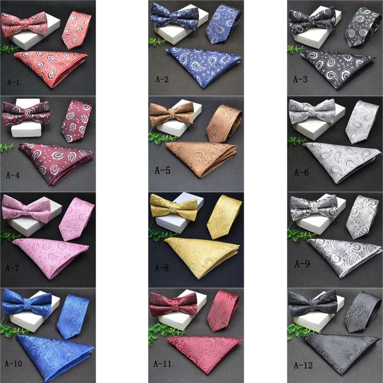 Kravat seti erkek resmi iş moda İngiliz tarzı üç parçalı jakarlı cep havlusu