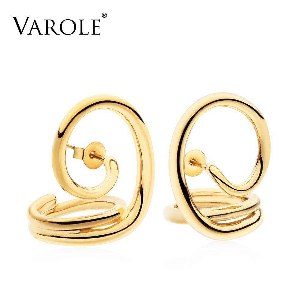 VAROLE New Korean Simple Style Twisted Lines Gold Color Hoop Earrings for Women Silver Plated Earrings Jewelry wholesale