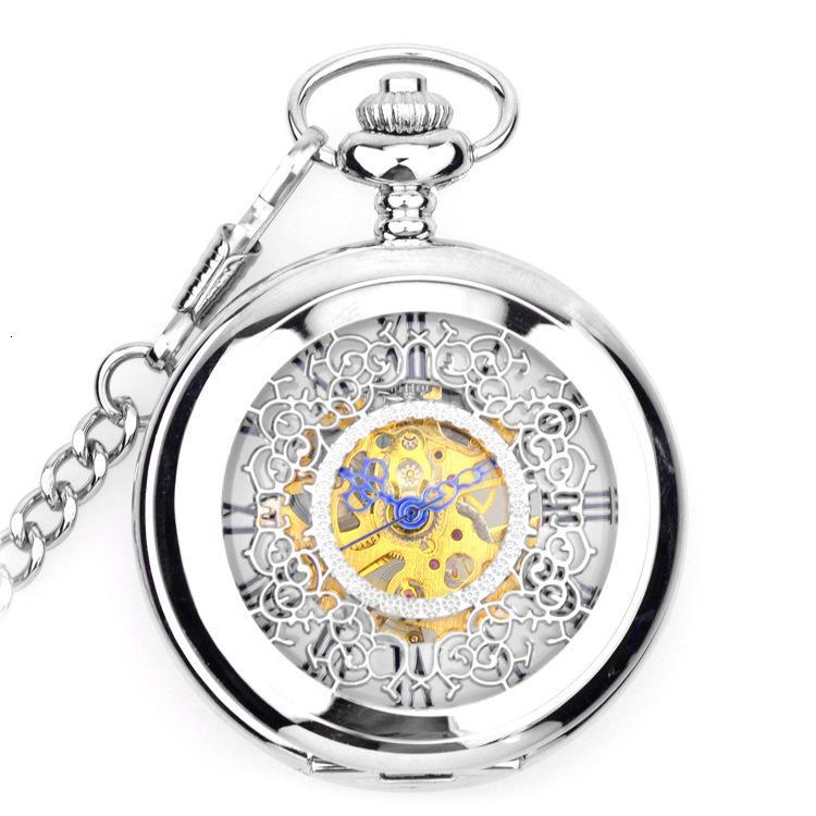Белый цветочный римский механический лоскутный ожерелье карманные мужские и женские часы