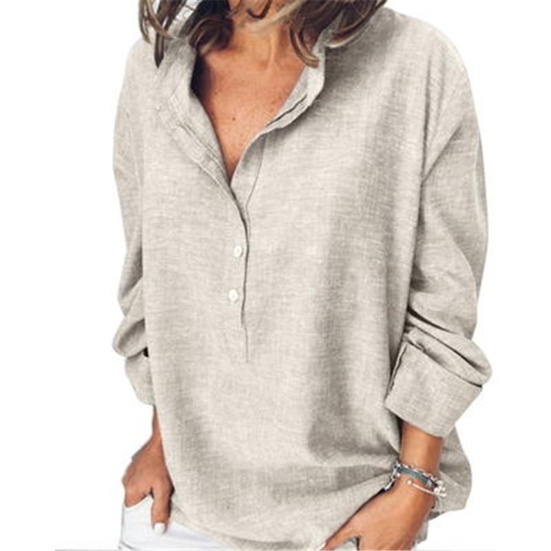 Mujeres de gran tamaño camisa de color sólido otoño manga larga botón casual suelto o-cuello camisas moda moda blusa transpirable blusa tops