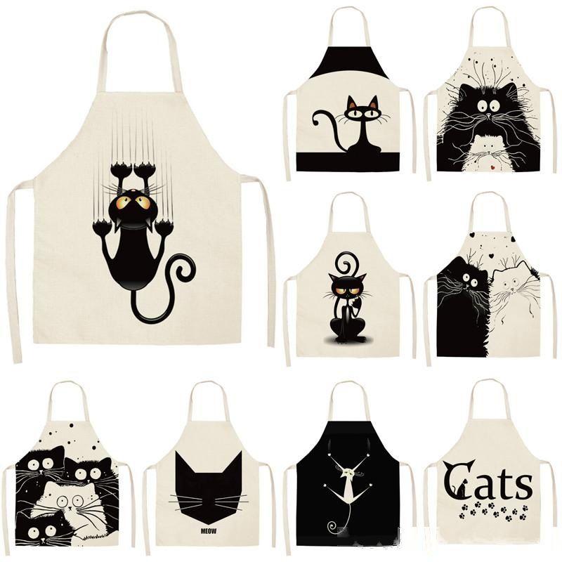 1 stücke küche schürze niedlich cartoon katze gedruckt ärmelloser baumwolle leinen schürzen für männer frauen hause reinigungswerkzeuge 53 * 65 cm