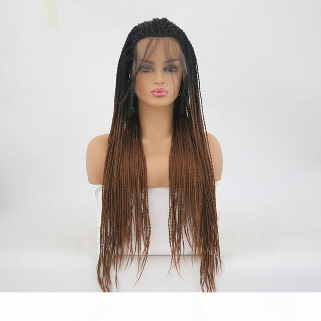 Плетеные кружевные фронтские парики Оммре Коричневая термостойкая папа волосы для чернокожих женщин Безвездовая твист синтетическая LaceFront Wig ombre с темными корнями