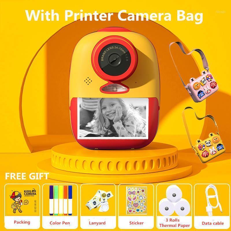 الطابعات لطيف طابعة كاميرا كيد hd الحرارية الفورية مع حقيبة يدور في الهواء الطلق هدية الطفل diy ملصقا po1