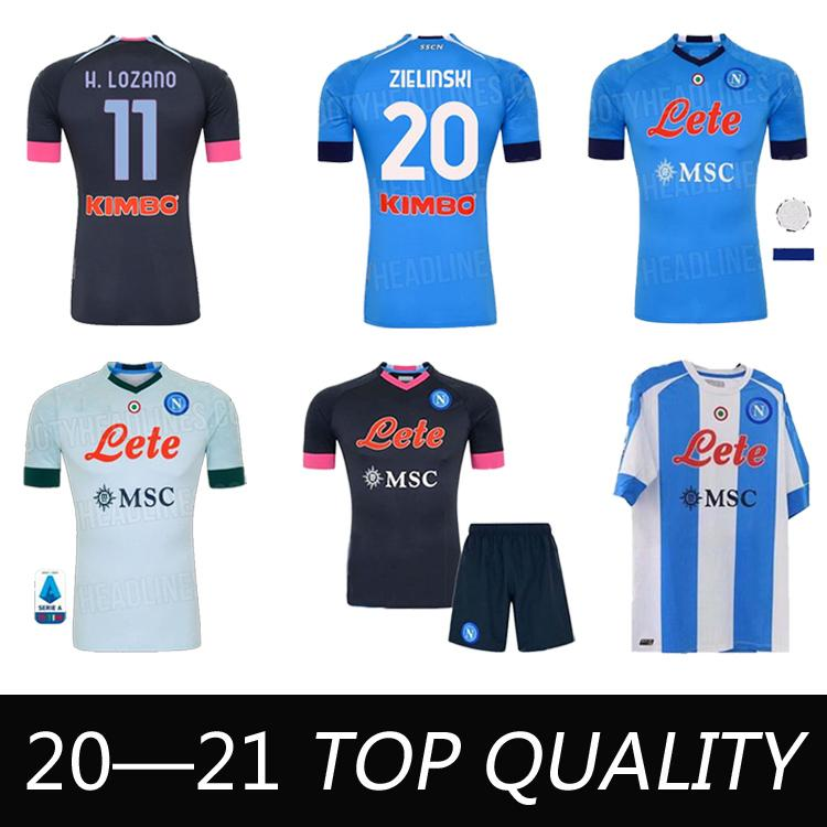 20 21 Napoli Futebol Fourth Jerseys Nápoles Calcio 4th Saluto Maradona Osimhen Insigne Mertens H.Lozano Maillots Men Kits Kits Football Camisas