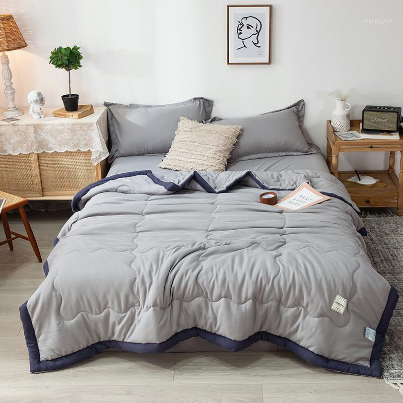 1 pc cinzento colcha de verão edificador de ar condicionado patchwork sólido estilo japonês lavado macio algodão macio 150 * 200 cm Home Textile1